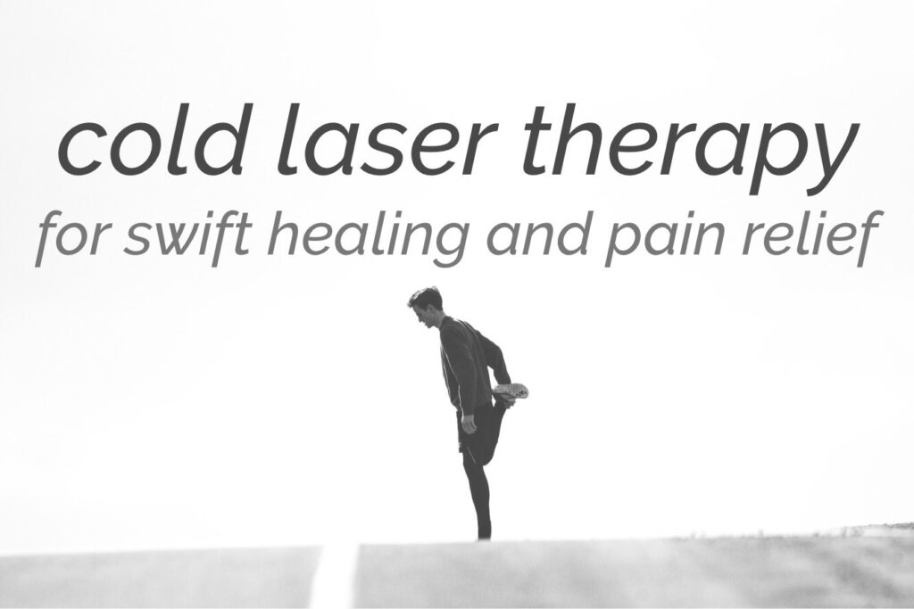image of a runner and the words cold laser therapy